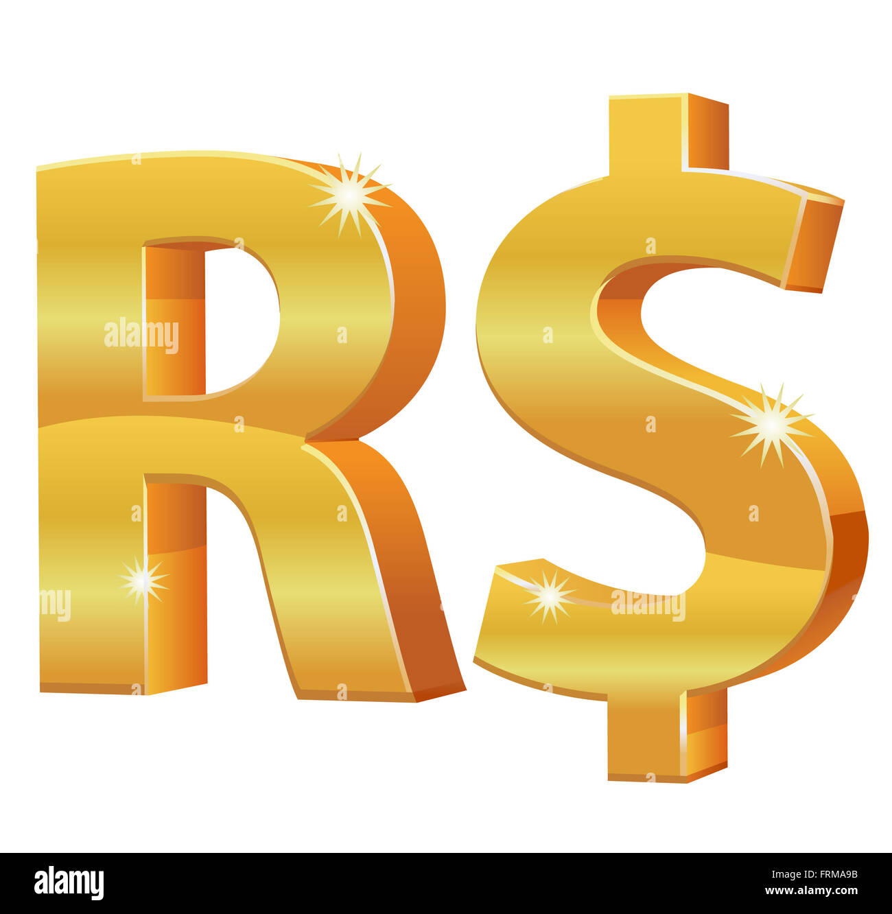 Gold Brazilian Real Currency Symbol Stock Photo 100636071 Alamy
