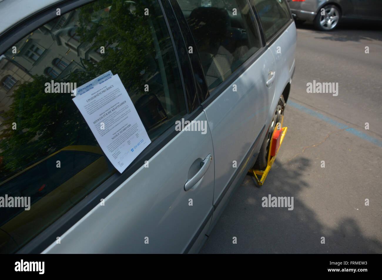 Parking Violation ticket in Prague, Czech - Stock Image