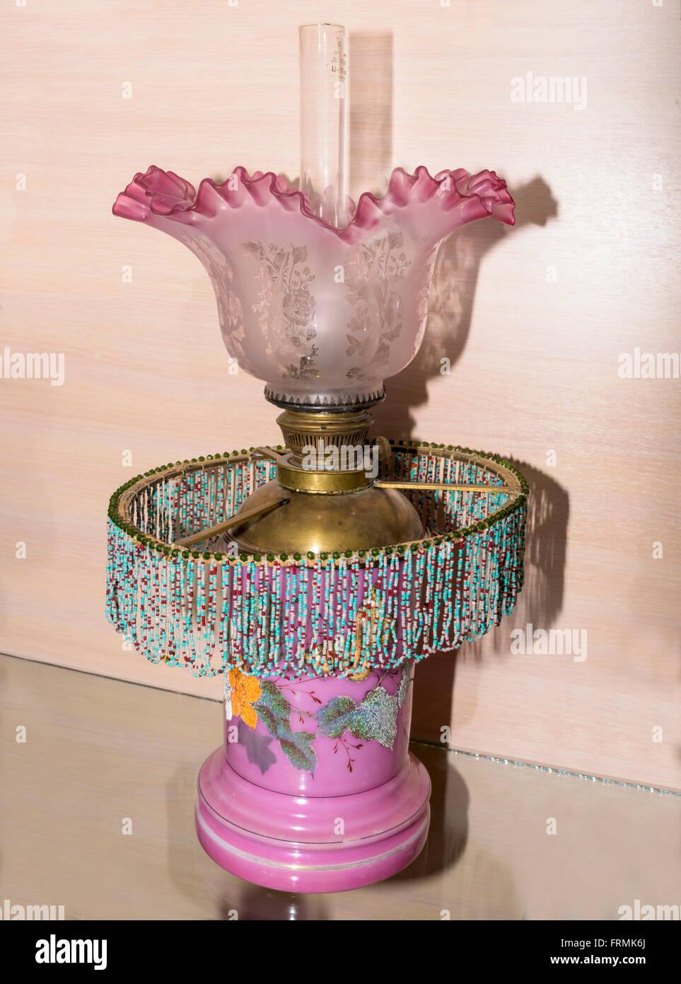 Old kerosene lamp beautiful 19th century - Stock Image