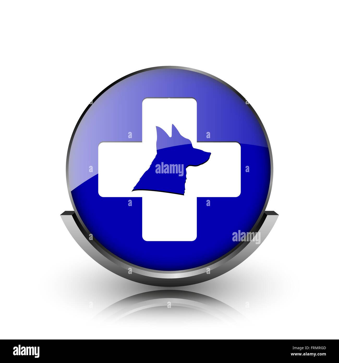 Blue shiny glossy icon on white background - Stock Image