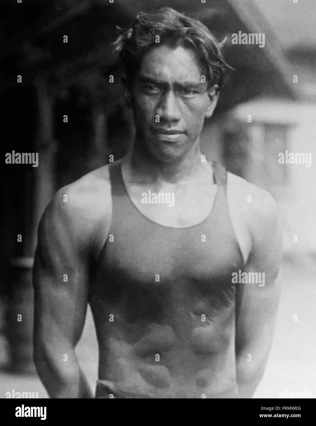 Duke Kahanamoku, the legendary 'father of modern surfing' and a multi-Olympic medalist is honored in the - Stock Image