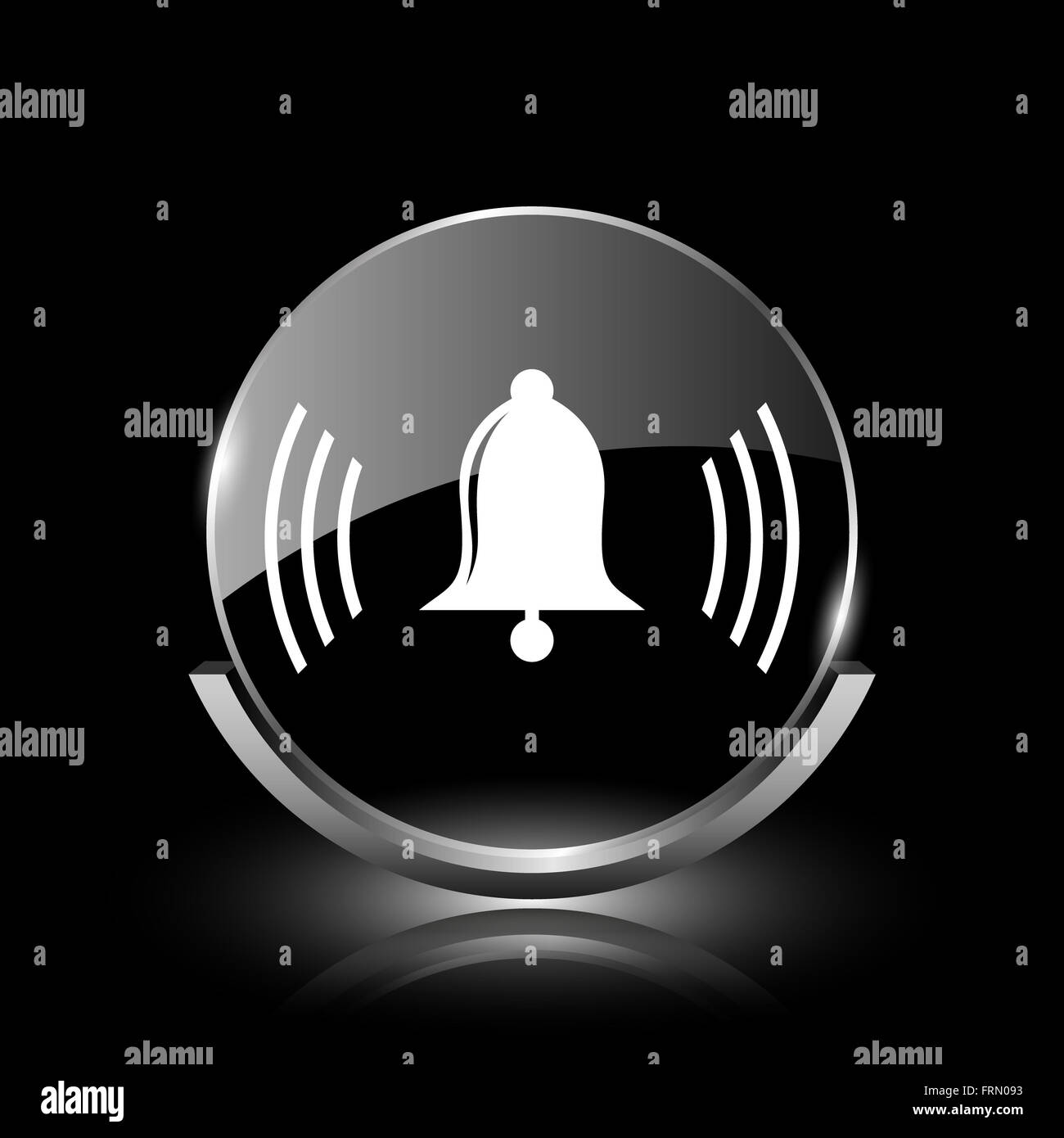 Shiny glossy glass icon on black background - Stock Image