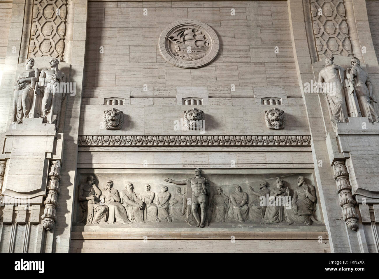 Milan railway station (Milano Centrale), Italy, completed in 1931. Frieze showing the Roman Senate being addressed - Stock Image