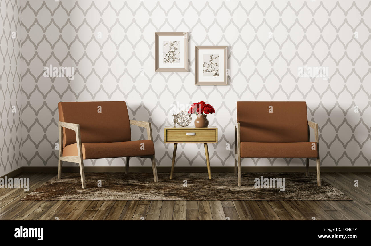 Modern interior of living room with two armchairs and side ...