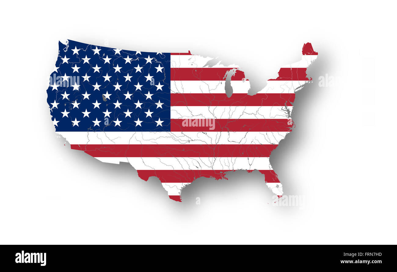Map Of The Usa With American Flag Colors Of Flag Are Proper Rivers - American-flag-us-map