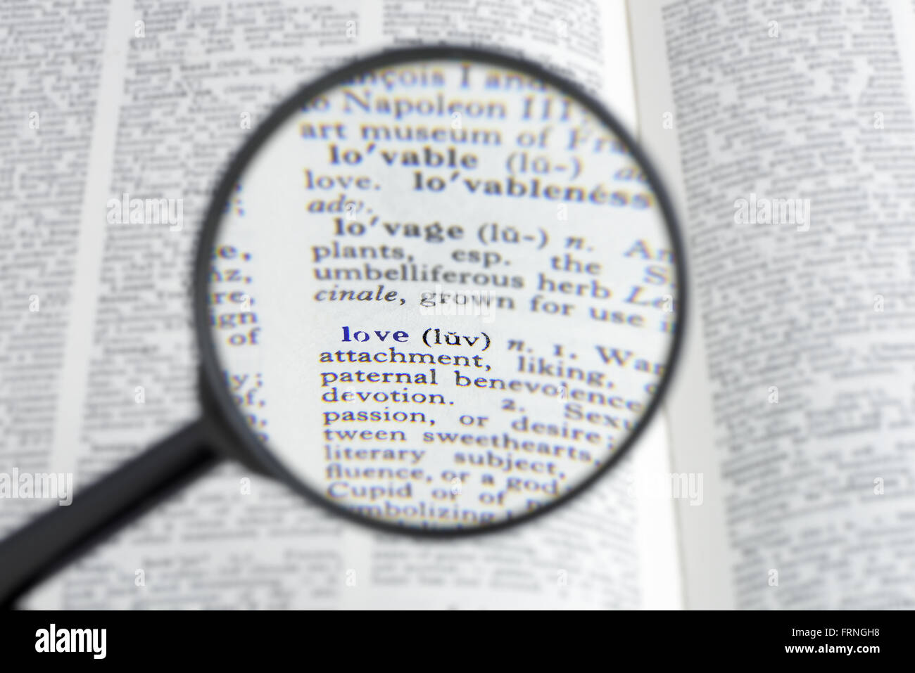 The Word Love In A Dictionary Seen Through A Magnifying Gl Shallow D O F