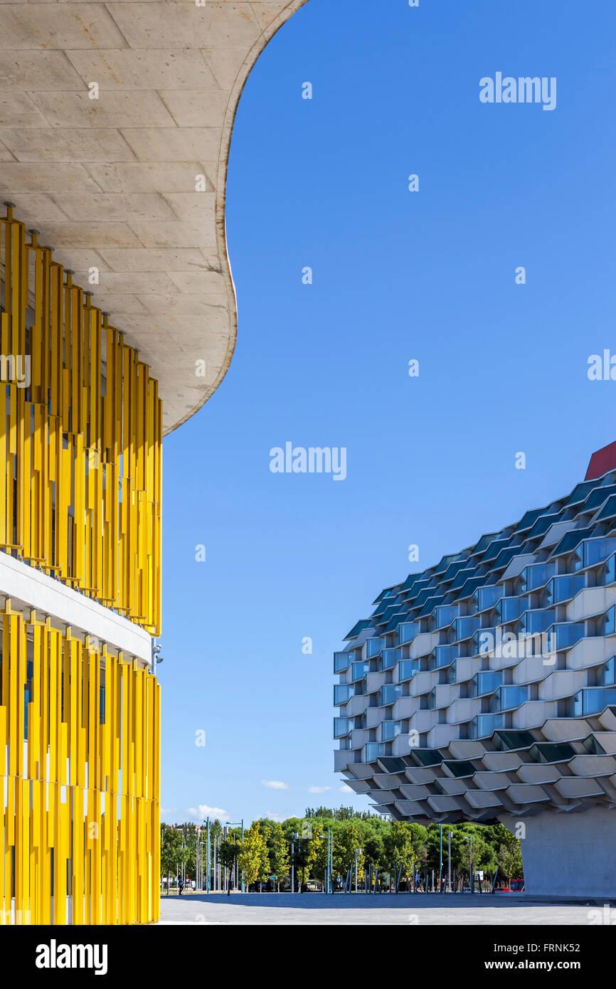 Business park Dinamiza and pabellon aragon in Expo area,Zaragoza,Aragón,Spain. - Stock Image