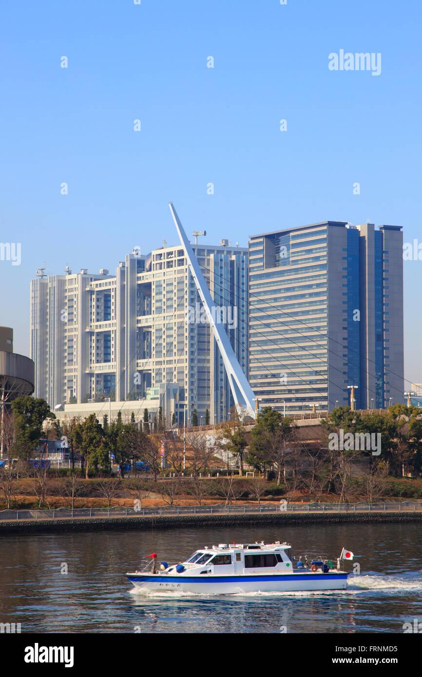 Japan, Tokyo, Odaiba, skyline, Fuji TV Headquarters, boat