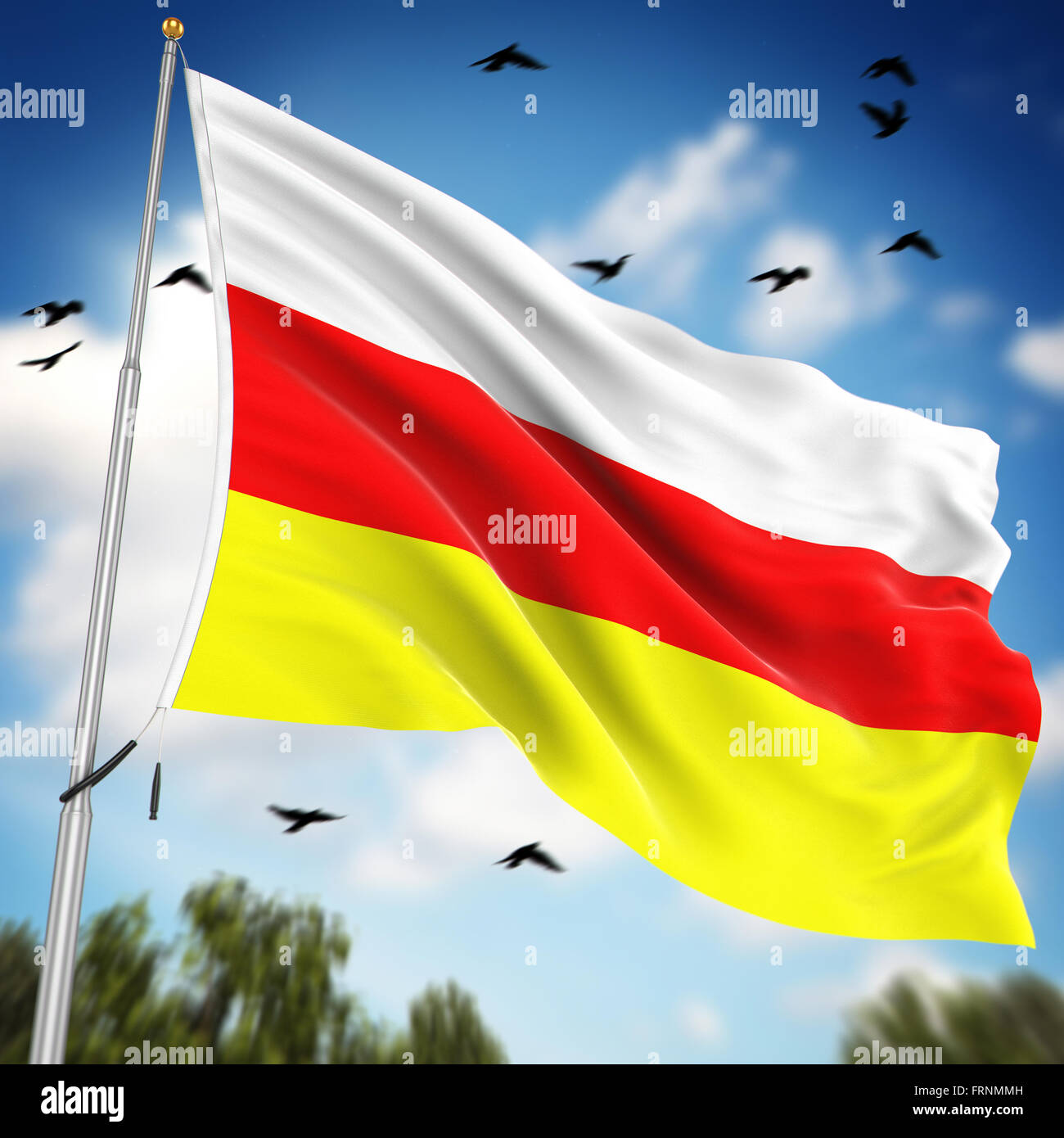 Flag of South Ossetia , This is a computer generated and 3d rendered image. - Stock Image