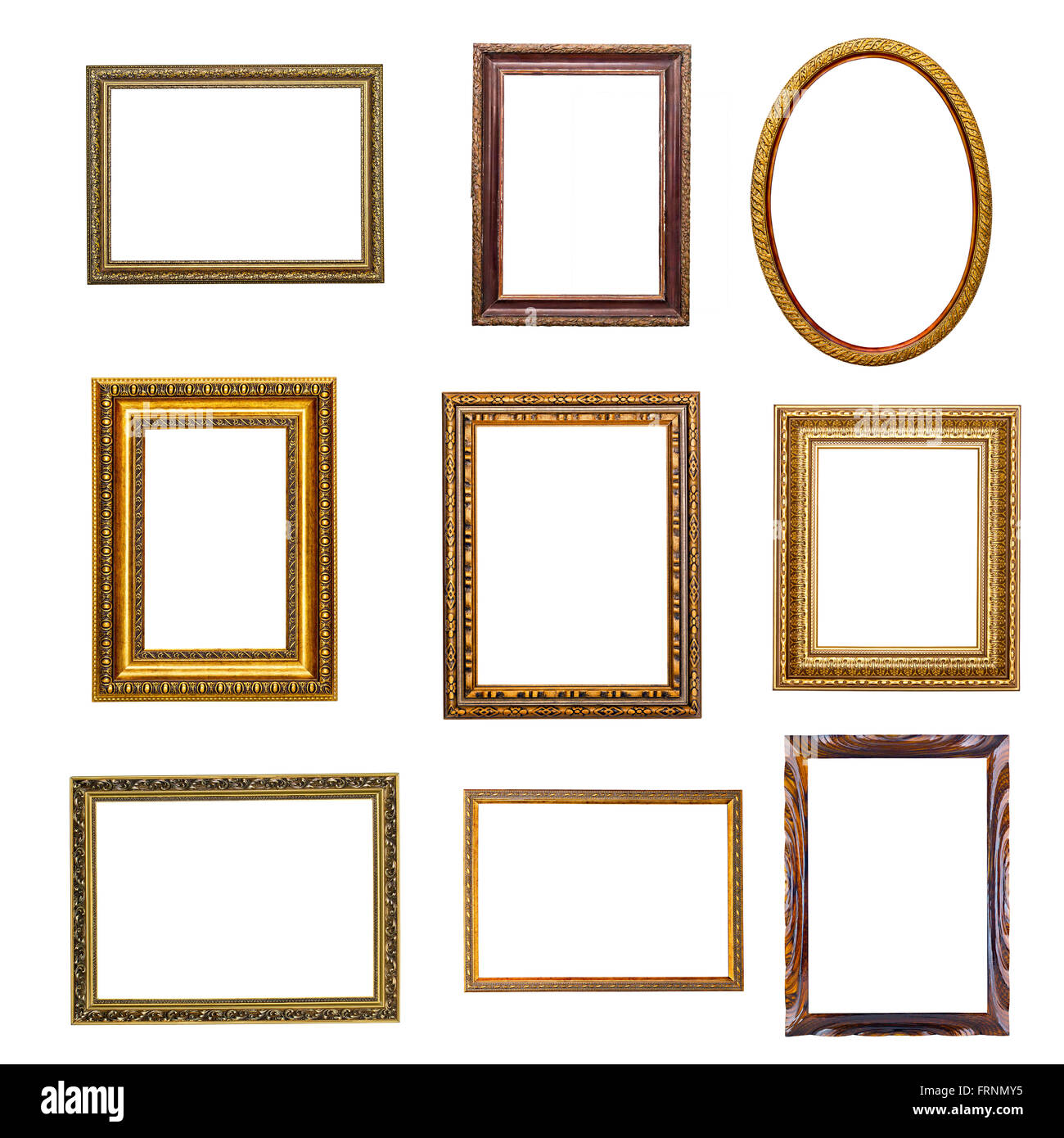 set of vintage frames in retro style isolated on white background ...