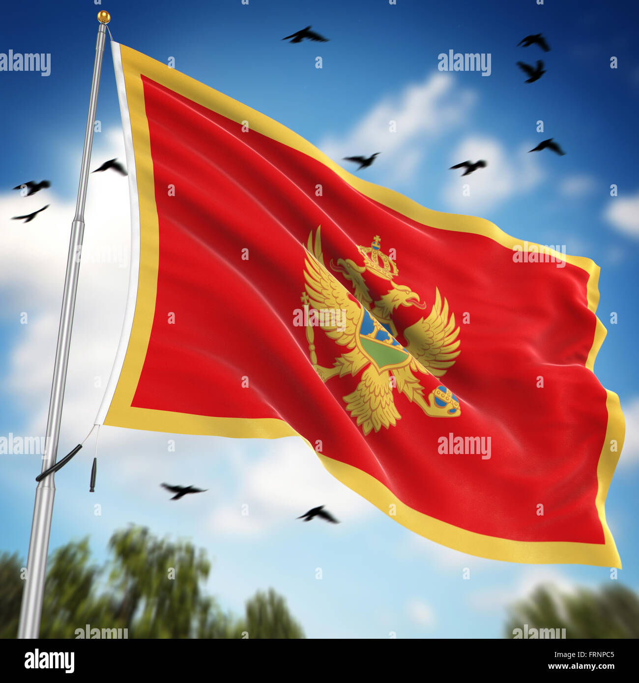 Flag of Montenegro , This is a computer generated and 3d rendered image. Stock Photo