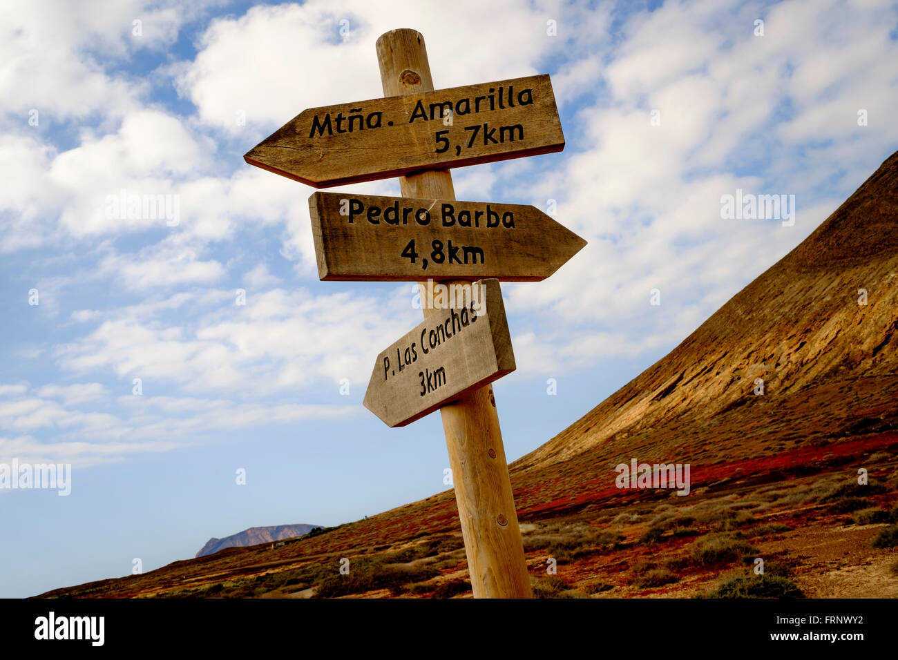paths signal in the middle of la graciosa island, canary islands,spain,europe - Stock Image