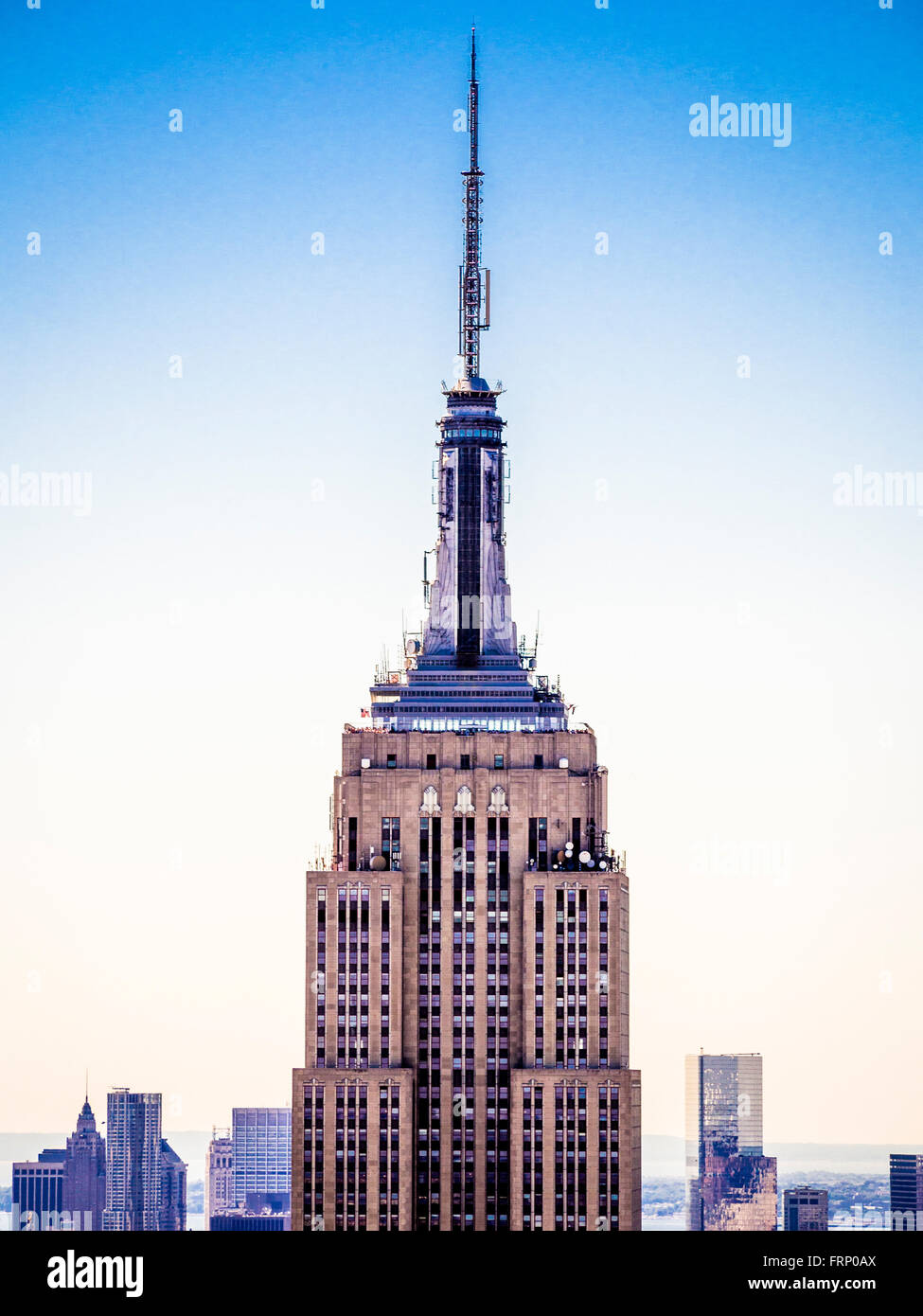 The Empire State Building, New York City, USA, viewed from the observation platform of the Rockefeller Center (Top - Stock Image