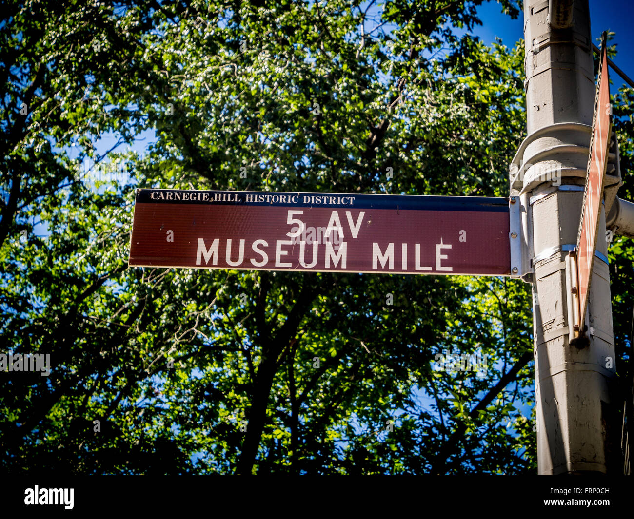 5th Avenue Museum Mile sign, New York, USA. - Stock Image