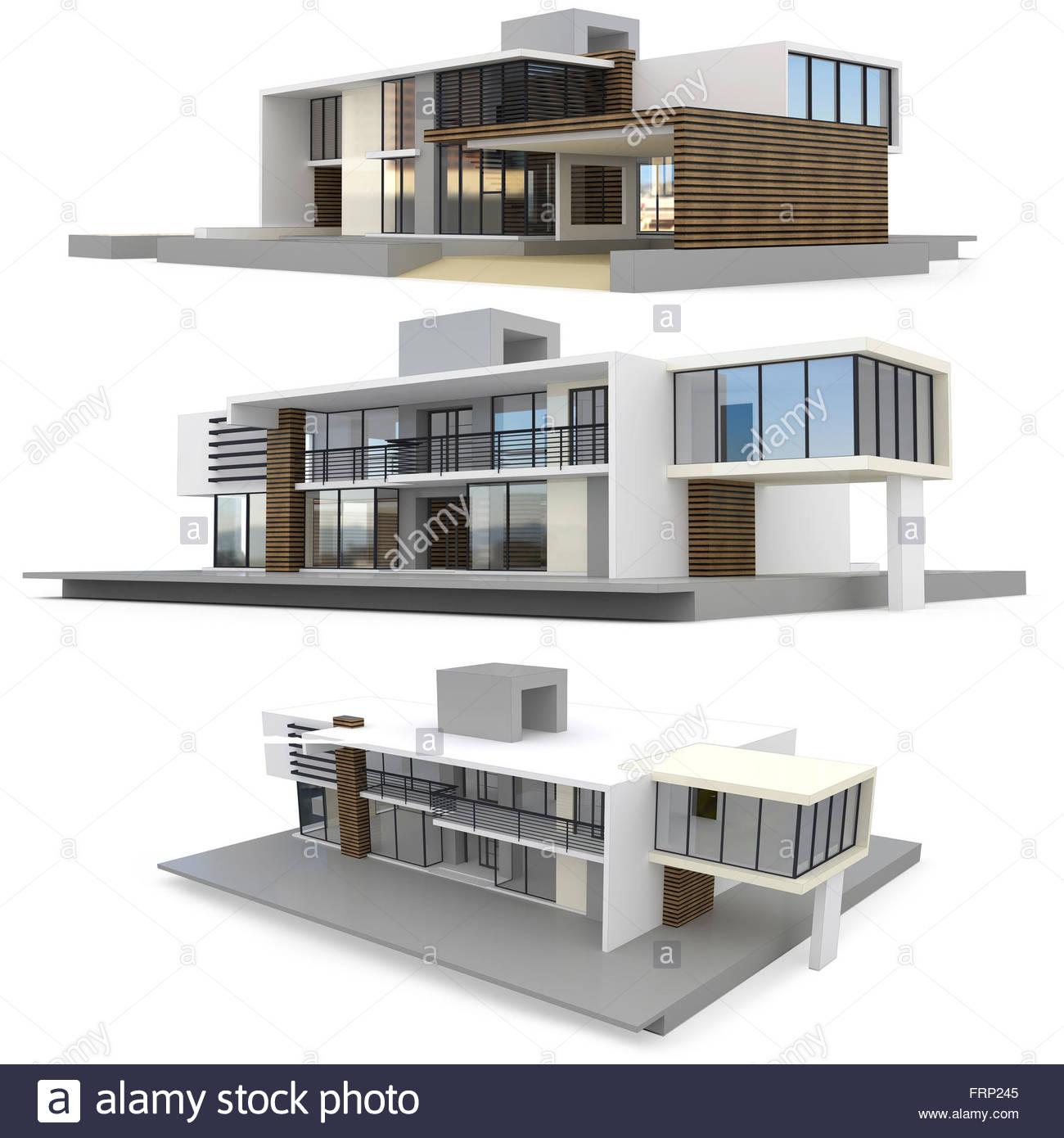 3d render of modern house on white background