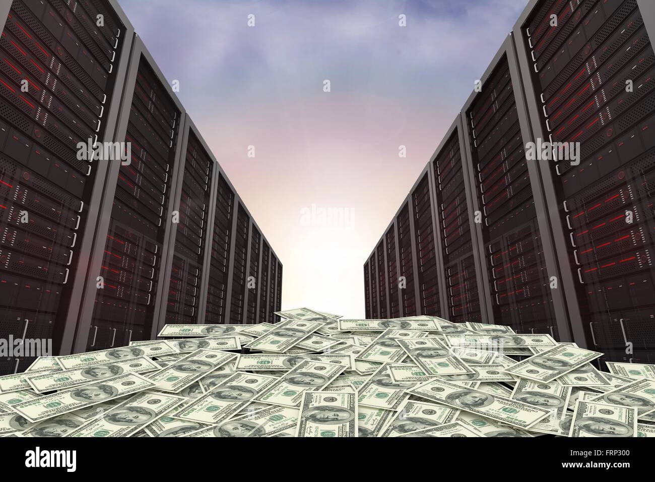 Dollars and server towers - Stock Image