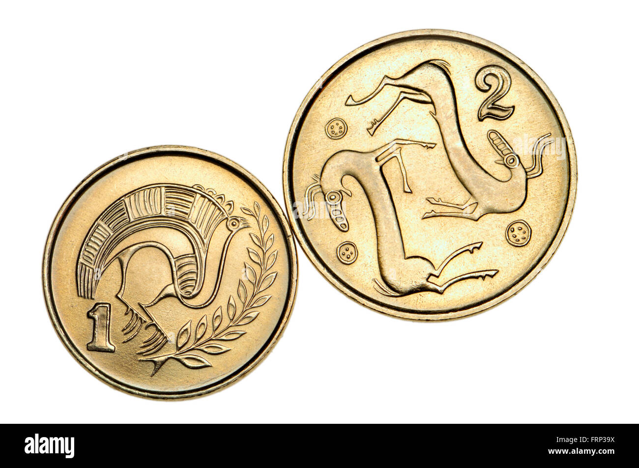 Pre-Euro coins of Cyprus: One cent showing Stylised bird perched on a branch from a jug of bichrome ware from the - Stock Image