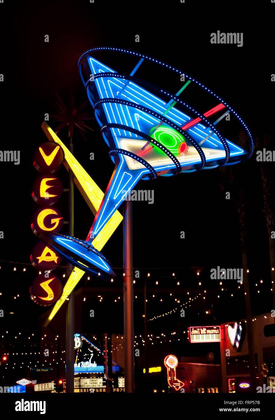 Neon lights of the Fremont District of Las Vegas Nevada at night - Stock Image