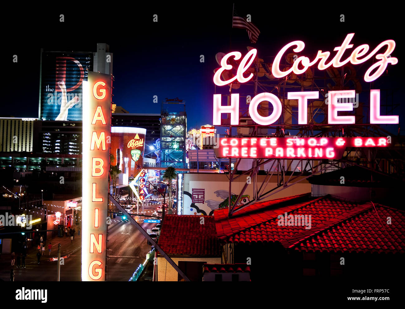 A Sign For The El Cortez Hotel And Casino At Night In The Fremont