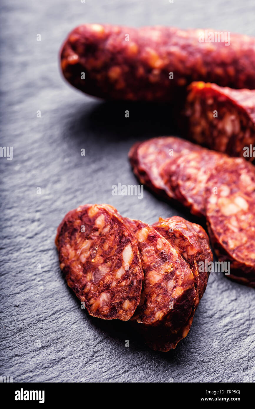Sausage Chorizo. Spanish traditional chorizo sausage, with fresh herbs, garlic, pepper and chili peppers. Traditional - Stock Image