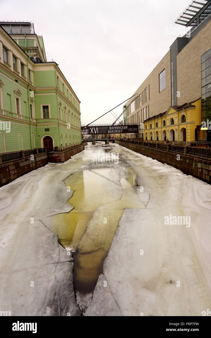 Frozen Canal, St Petersburg. - Stock Image