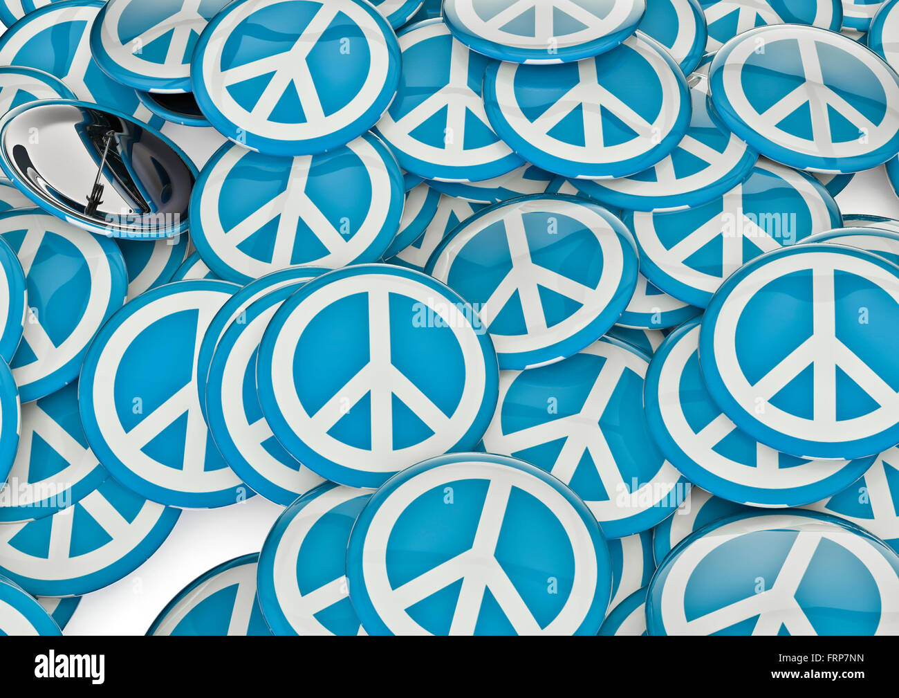Peace badges / 3D render of metallic badges with peace symbol - Stock Image