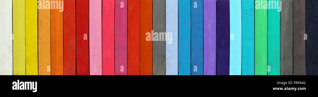 Detail of the colored pastels - Stock Image