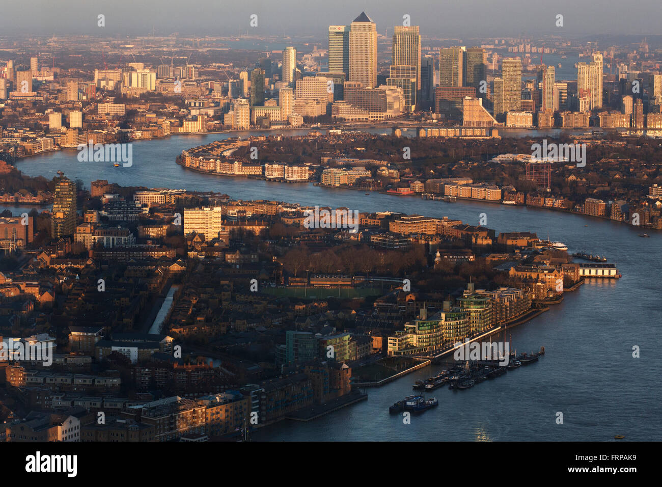 London Docklands aerial view, River Thames, Docklands and Canary Wharf of Tower Hamlets in London  Photo: Pixstory - Stock Image