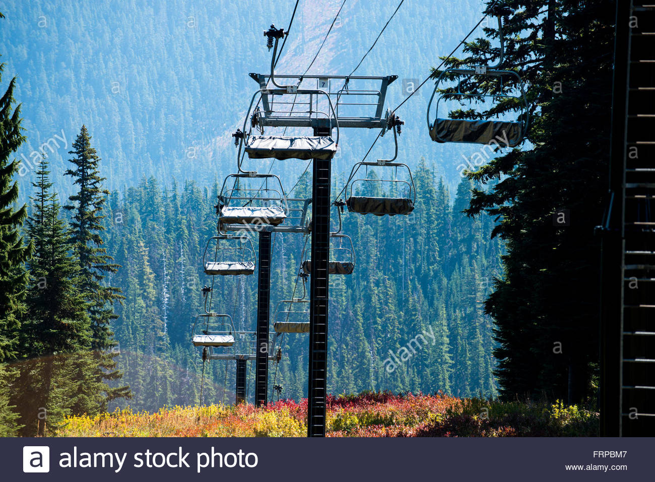 The chairlifts at Mt. Hood are covered for the summer. Stock Photo