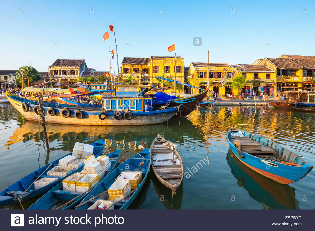 Boats on the Thu Bon River, Hoi An Ancient Town, Vietnam - Stock Image