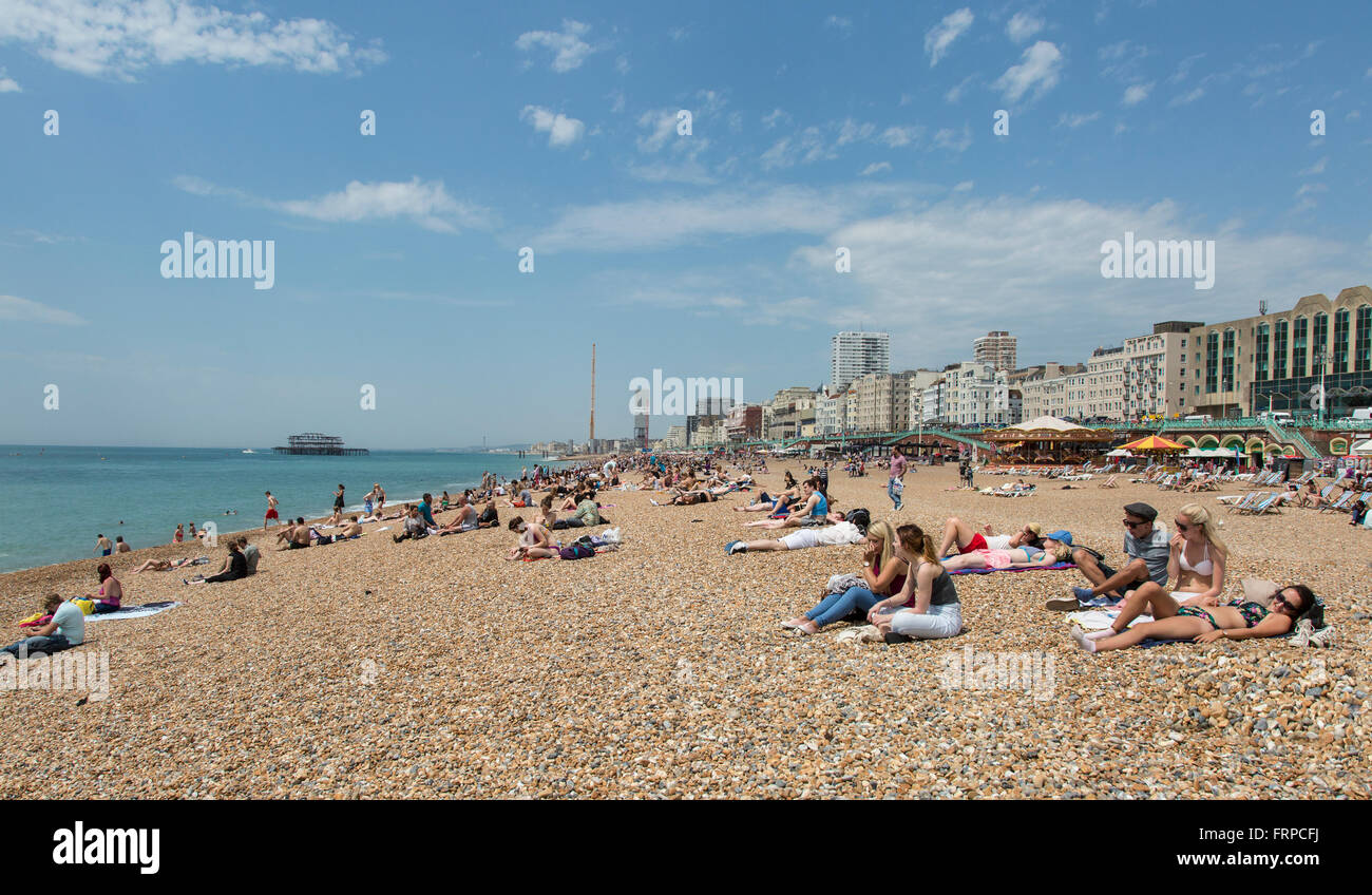 People sunbathing on the beach at Brighton and Hove, UK - Stock Image