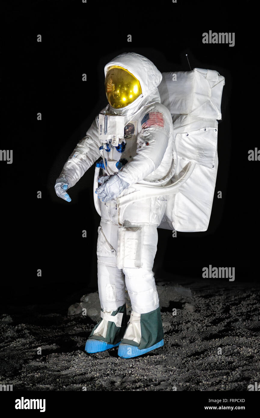 Exhibit of single American NASA astronaut fitted with life support suit for display about moon exploration - Stock Image