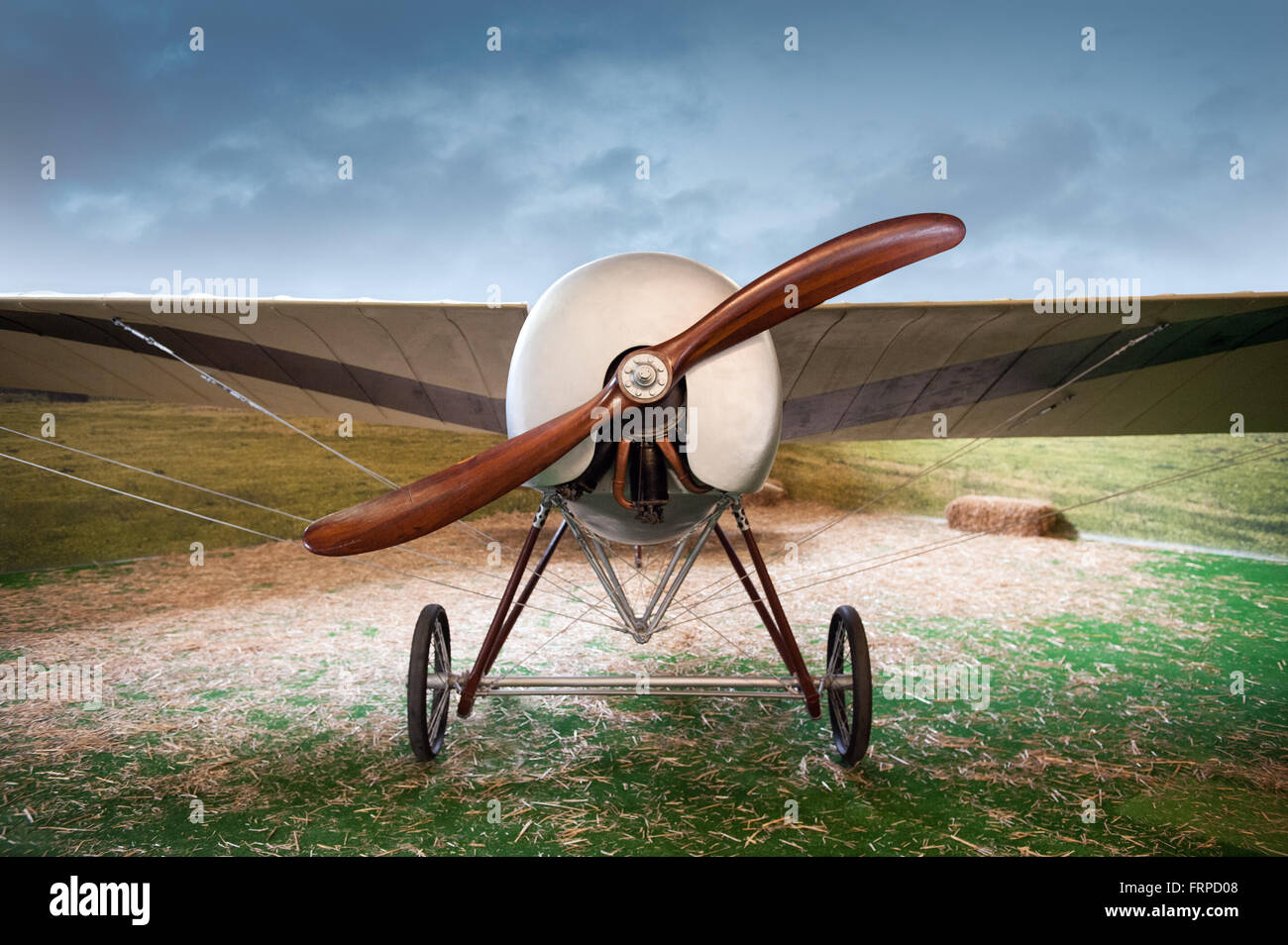 Old vintage monoplane airplane with a wooden propeller parked in a field in a landscape, front view - Stock Image