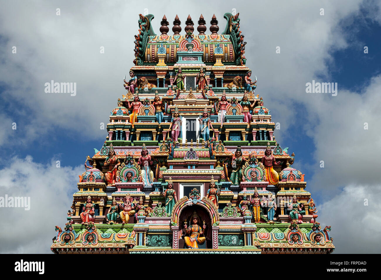 Hindu temple in Rose Belle, Mauritius - Stock Image