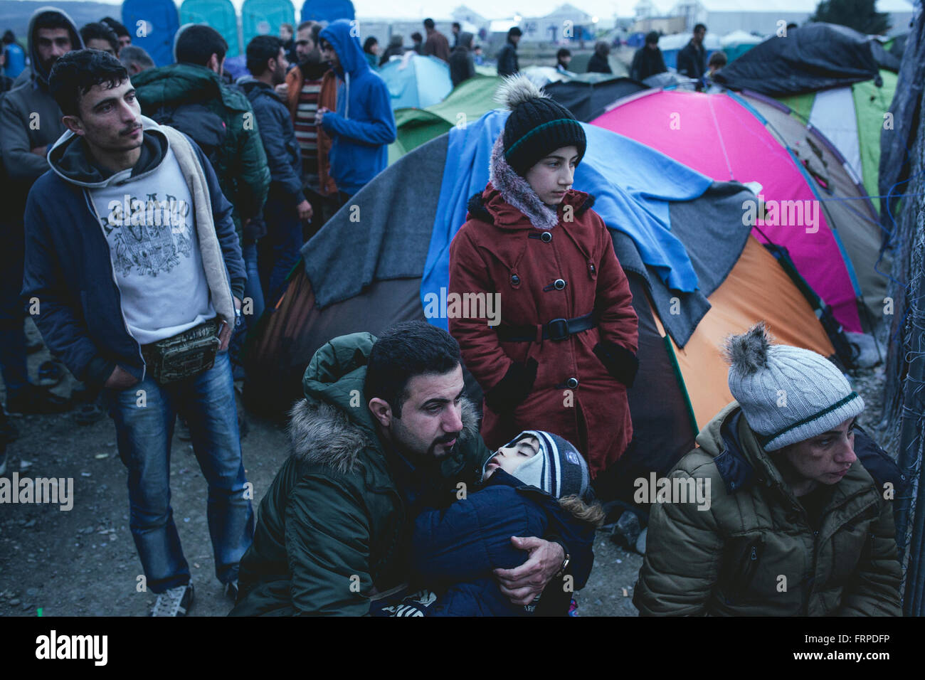 Idomeni refugee camp on the Greek Macedonia border, incoming Syrian refugees at the checkpoint, Idomeni, Central - Stock Image