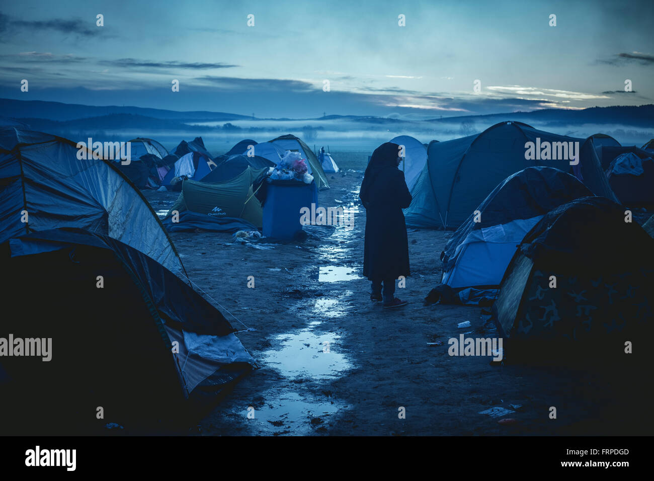 Idomeni refugee camp on the Greece-Macedonia border, camp in the morning after heavy rains, Idomeni, Central Macedonia, - Stock Image