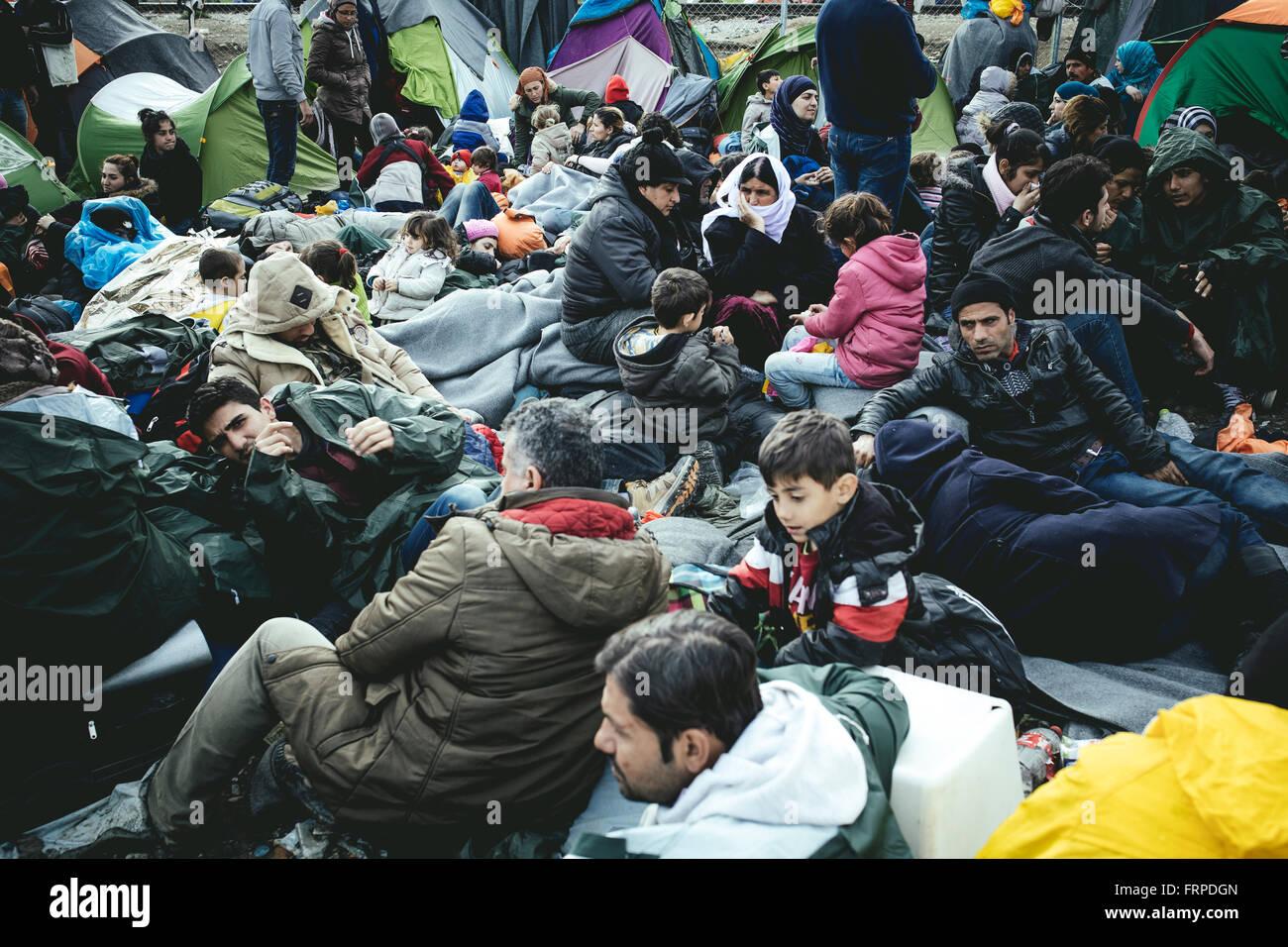 Idomeni refugee camp on the Greece-Macedonia border, refugees waiting at a checkpoint, Idomeni, Central Macedonia, - Stock Image