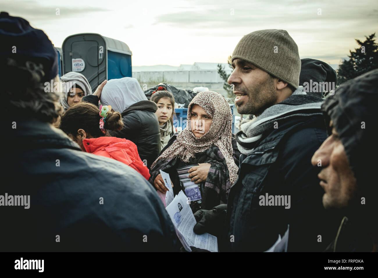 Idomeni refugee camp on the Greece Macedonia border, refugees waiting at a checkpoint, Idomeni, Central Macedonia, - Stock Image