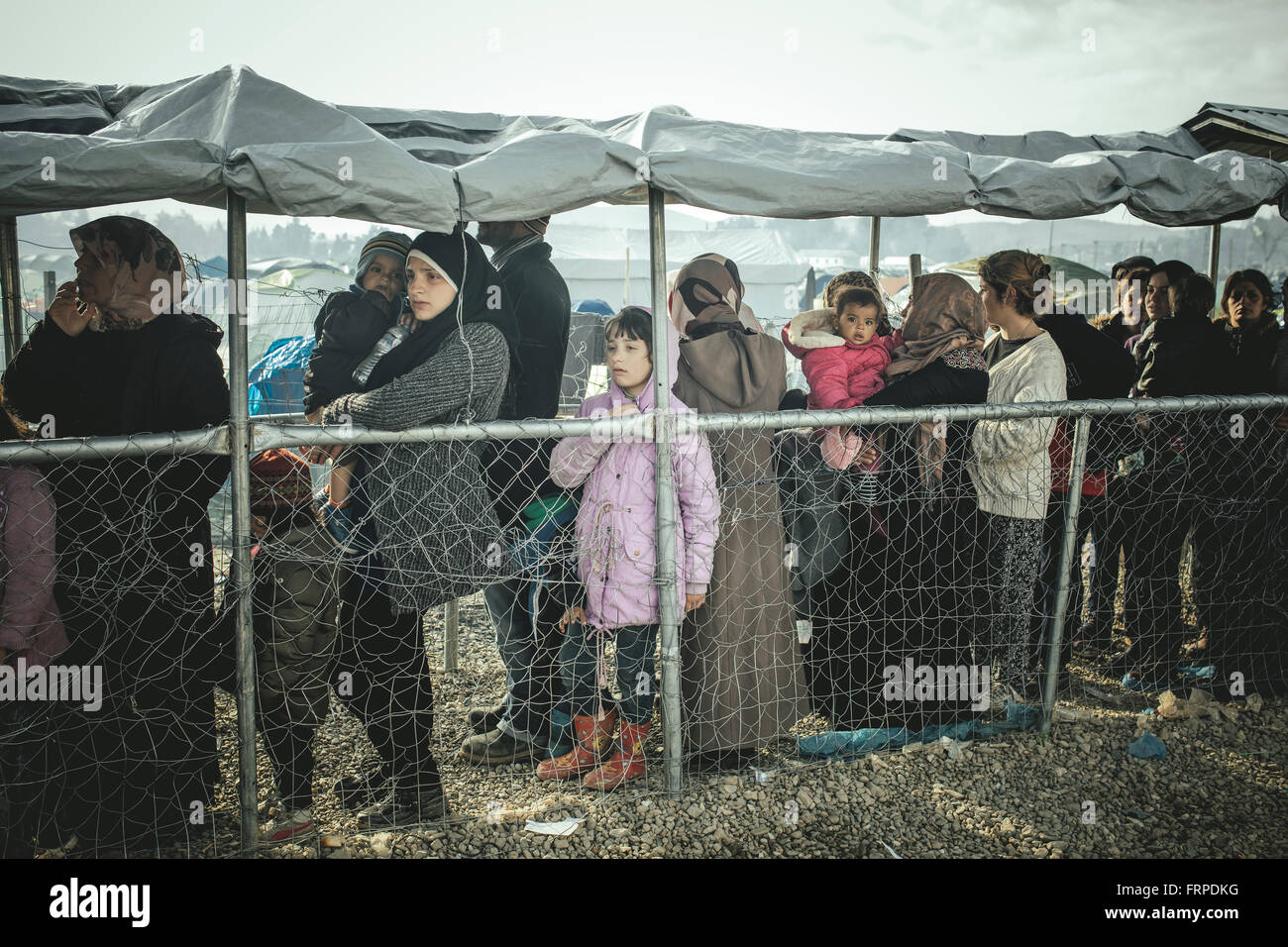 Idomeni refugee camp on the Greece Macedonia border, refugees queue for food, Idomeni, Central Macedonia, Greece - Stock Image