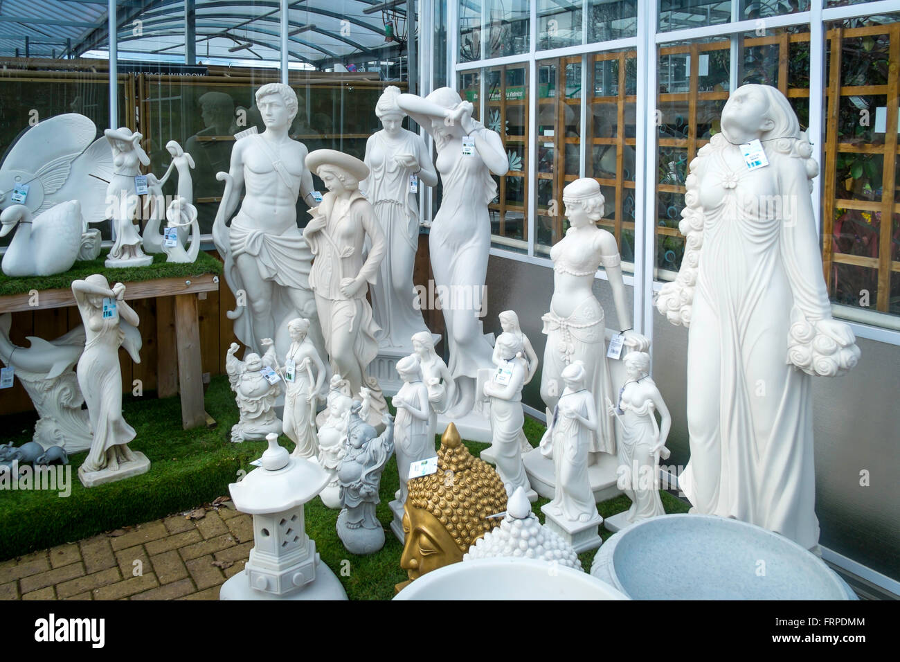 A Collection Of Garden Ornament Statues For Sale In A Garden Centre   Stock  Image