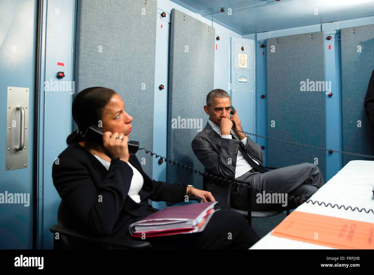 Havana, Cuba. 22nd Mar, 2016. U.S. President Barack Obama and National Security Advisor Susan E. Rice talk on by Stock Photo