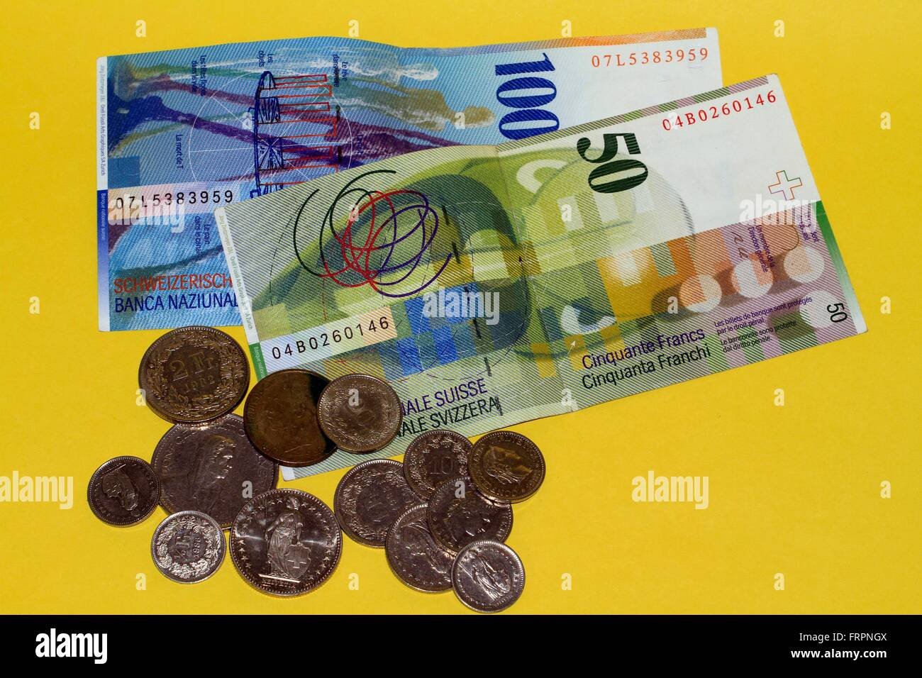 The Swiss franc is the currency of Switzerland and Liechtenstein. It is divided into 100 Rappen. Its ISO abbreviation - Stock Image