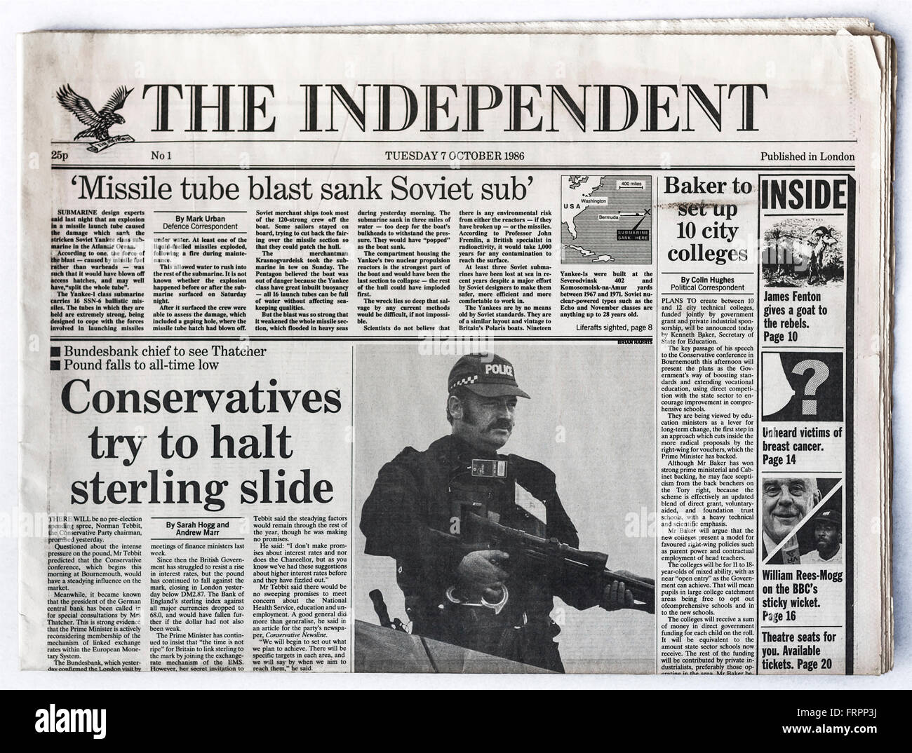 Upper front page Issue #1 'The Independent' UK national newspaper launched Tuesday 7th October 1986 - 'The - Stock Image