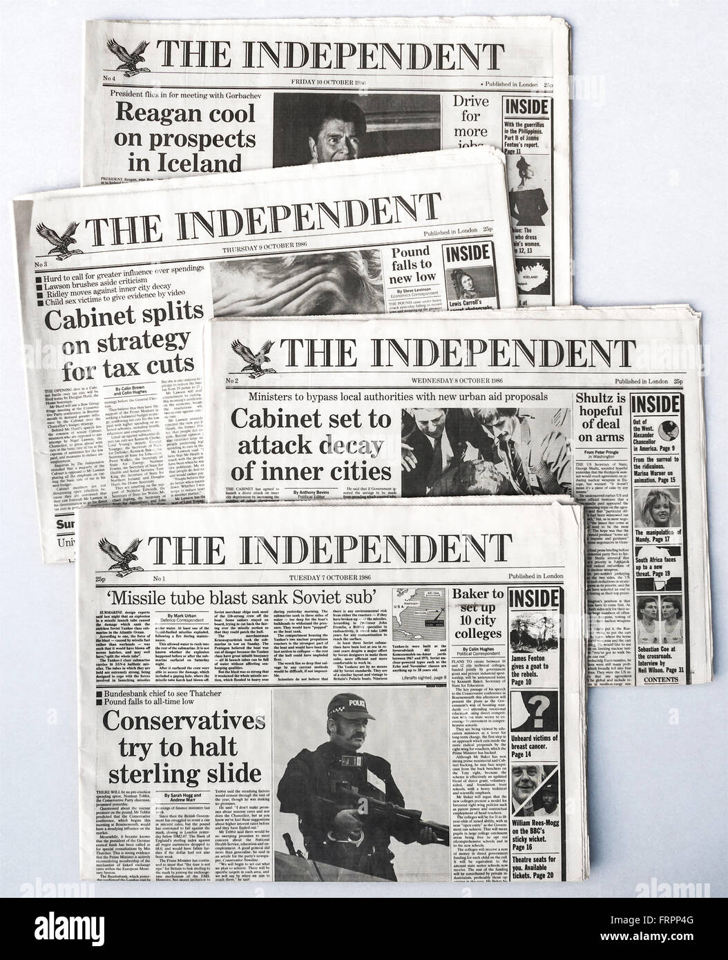 Upper front pages of Issues #1-4 'The Independent' UK national newspaper launched Tuesday 7th October 1986 - Stock Image
