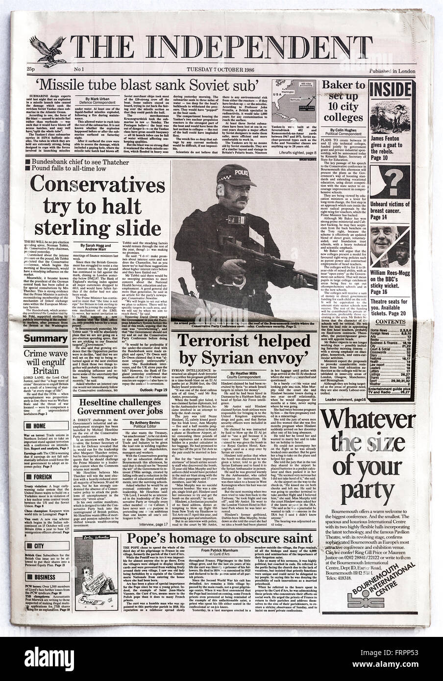 Front page Issue #1 'The Independent' UK national newspaper launched Tuesday 7th October 1986 - 'The - Stock Image