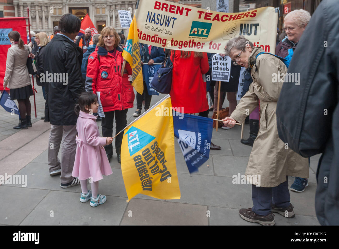 London, UK. 23rd March, 2016. Teachers from the NUT and ATL meet to march through Westminster to a rally against - Stock Image