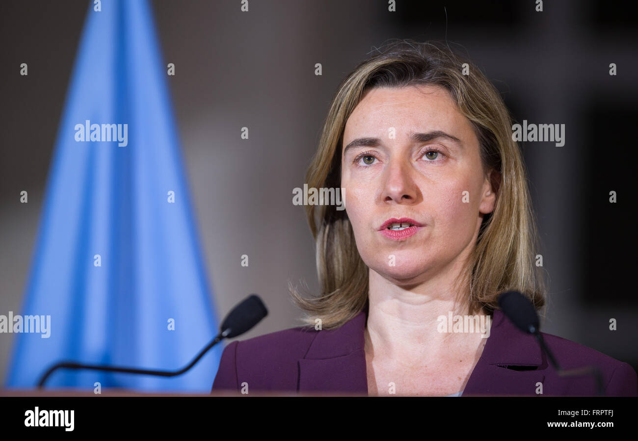 Geneva, Switzerland. 23rd Mar, 2016. EU foreign affairs chief Federica Mogherini addresses the media after meeting - Stock Image