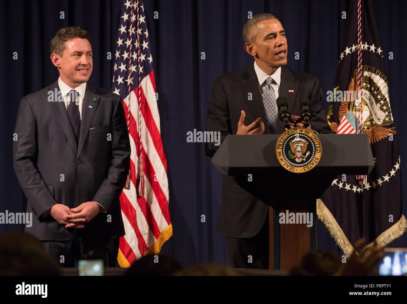 Buenos Aires, Argentina. 23rd Mar, 2016. American ambassador Noah Mamet hosts President Barack Obama in Buenos Aires, - Stock Image