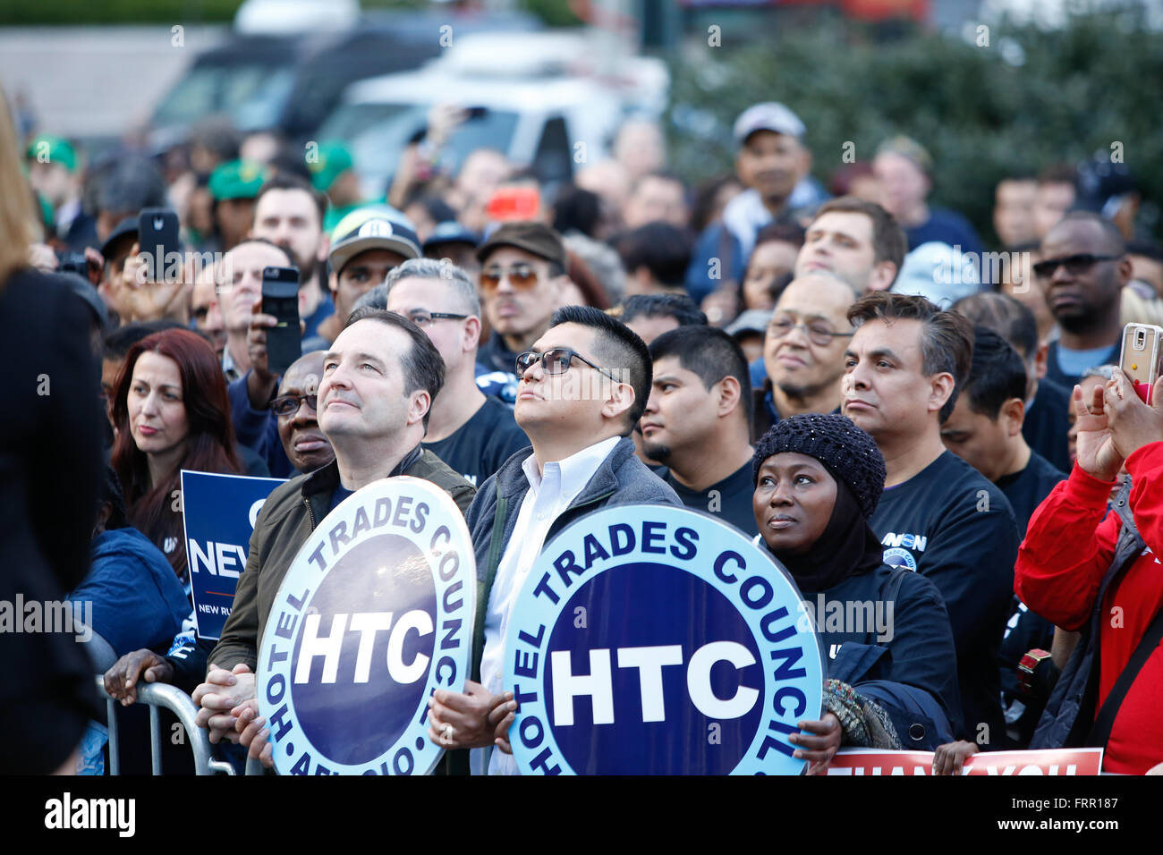 New York City, USA, 23 March 2016: HTC membes listen to speeches during a Foley Square rally in celebration of NYC's Stock Photo