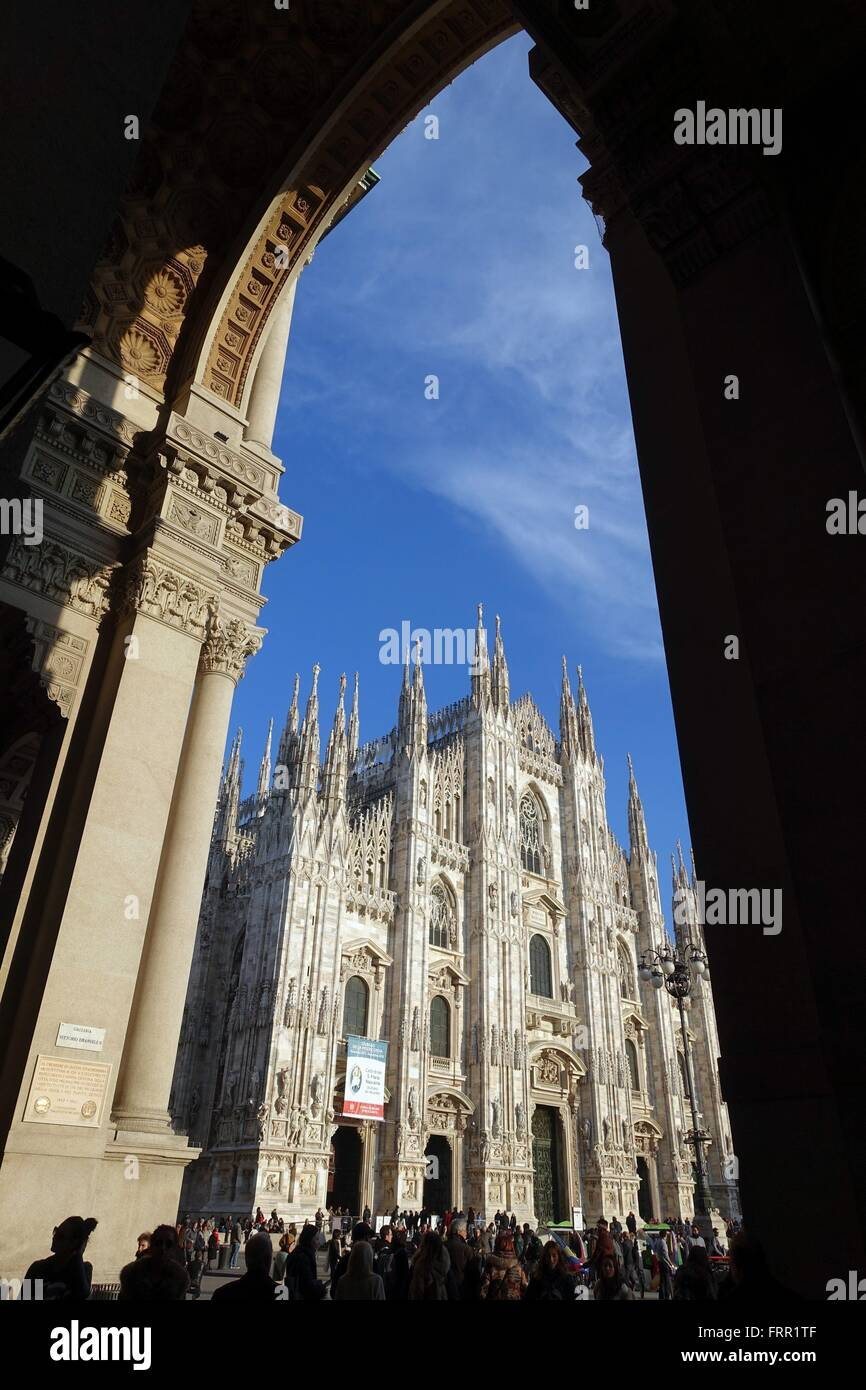 Italy: Milan Cathedral, seen from Galleria Vittorio Emanuele. Photo from 10. March 2016. Stock Photo